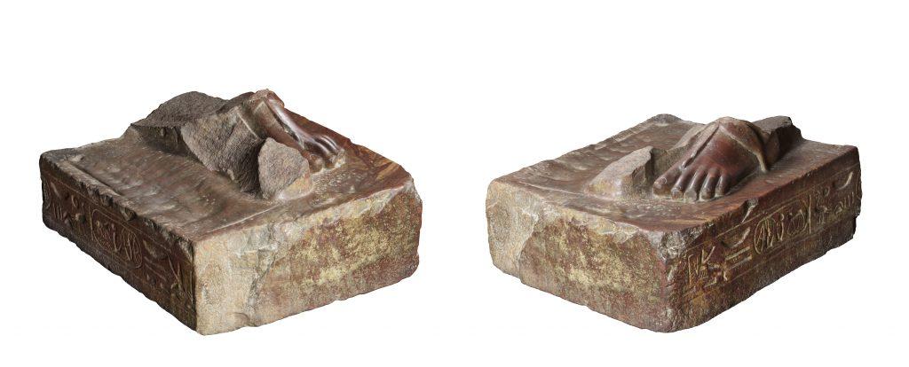 Base de statue porte-enseigne au nom de Mérenptah. Turin, Cat. 1382. Quartzite. H. 24 ; l. 55 ; P. 70 cm. Karnak. Collection Drovetti (1824). Photographies : Pino et Nicola Dell'Aquila/Museo Egizio.