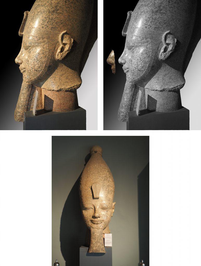 Tête d'une statue de jubilé d'Amenhotep III. Louqsor, musée, J. 133. Granit. H.215 ; l.78,5 ; P.141,5cm. Kom el-Hettan. Photographies : Simon Connor.