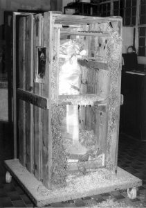 Turin, Museo Egizio S. 19400/01 (body) inside its crate. Photo from a conservation report by the Nicola workshop in Aramengo (Province of Turin). Photo Nicola Restauri/Museo Egizio.