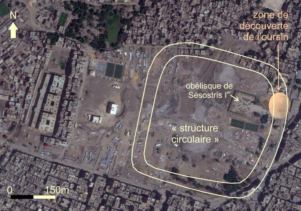 Vue actuelle du site d'Héliopolis, localisation de la « structure circulaire » et lieu de découverte de l'oursin (d'après Google Earth), 19 avril 2017.