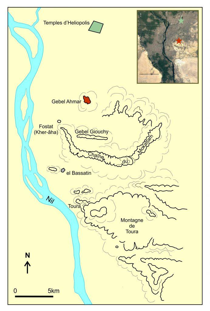 Carte de la région héliopolitaine (modifiée d'après Casanova, BIFAO 1 (1901), pl. suivant la p. 224)