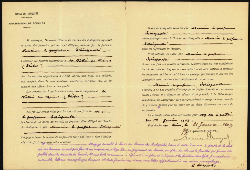 Document officiel du Service des Antiquités accordant la concession de fouilles à Schiaparelli pour la Vallée des Reines, en février 1903. Turin, Archivio di Stato, MAE, 2° vers., M1 n6. Image utilisée avec autorisation.