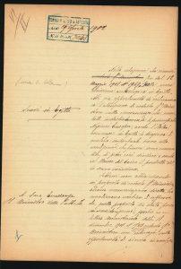 Lettre de Schiaparelli au Ministère de l'Instruction Publique défendant la création d'une Mission Archéologique Italienne (MAI) en Egypte, datée du 29 avril 1902. Turin, Archivio di Stato, MAE, 2° vers., M1 n5, Prot. 3048. Image utilisée avec autorisation.