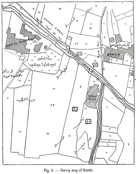 Plan of Qantir, showing areas excavated by Mahmud Hamza in 1928. From Hamza, ASAE 30 [1930], fig. 3, p. 40.