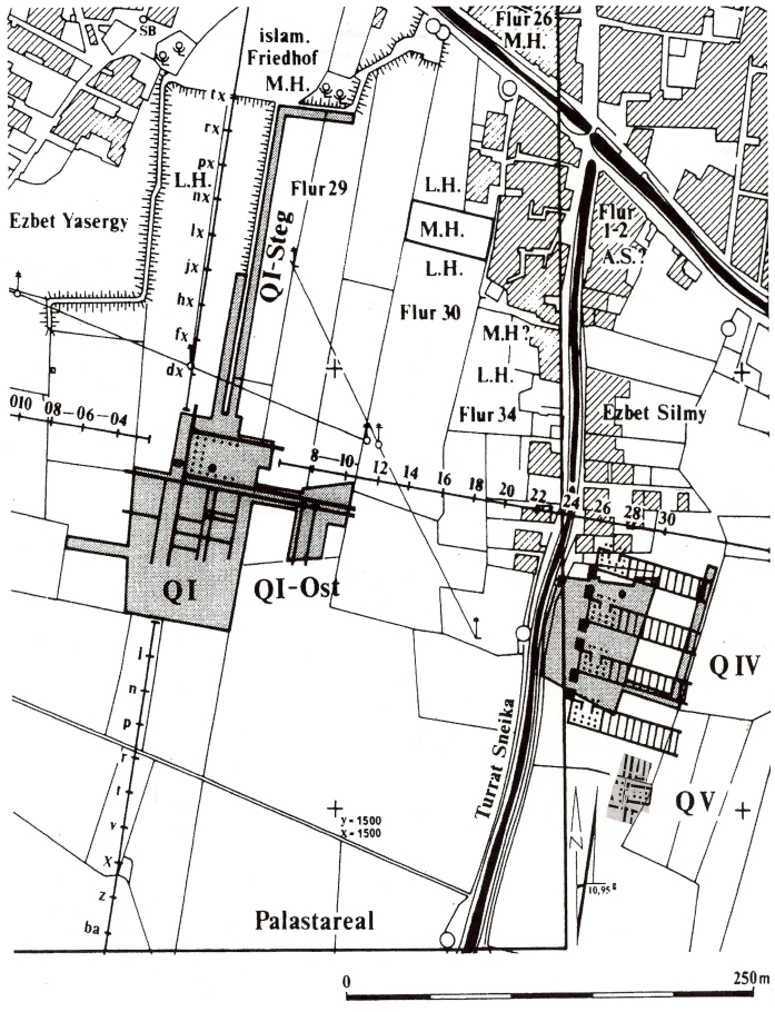 Plan of Qantir showing areas excavated by Mahmud Hamza (M.H.) in 1928, Labib Habachi (L.H.) in 1940 and 1942, and Pusch and Rehren (QI, IV and V). (Pusch and Rehren, Hochtemperatur-Technologie in der Ramses-Stadt, p. 20)