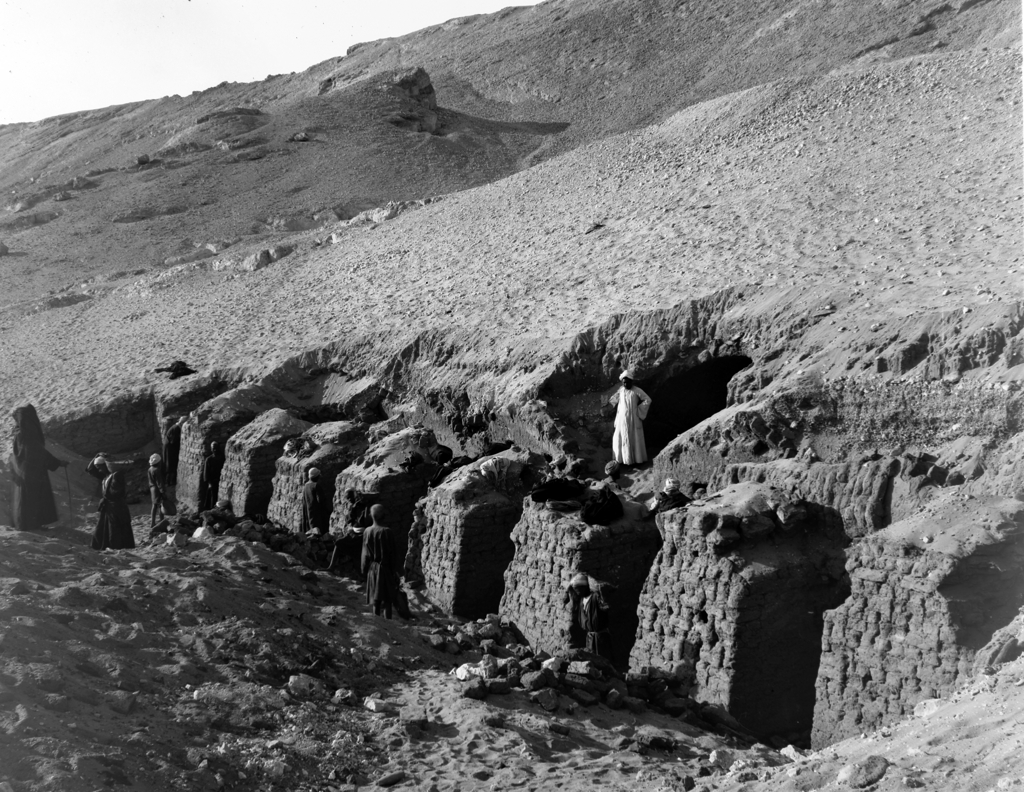 View of an otherwise unrecorded First Intermediate Period–Middle Kingdom tomb during the excavation at Gebelein, probably in 1914. Archivio Museo Egizio, E0612.
