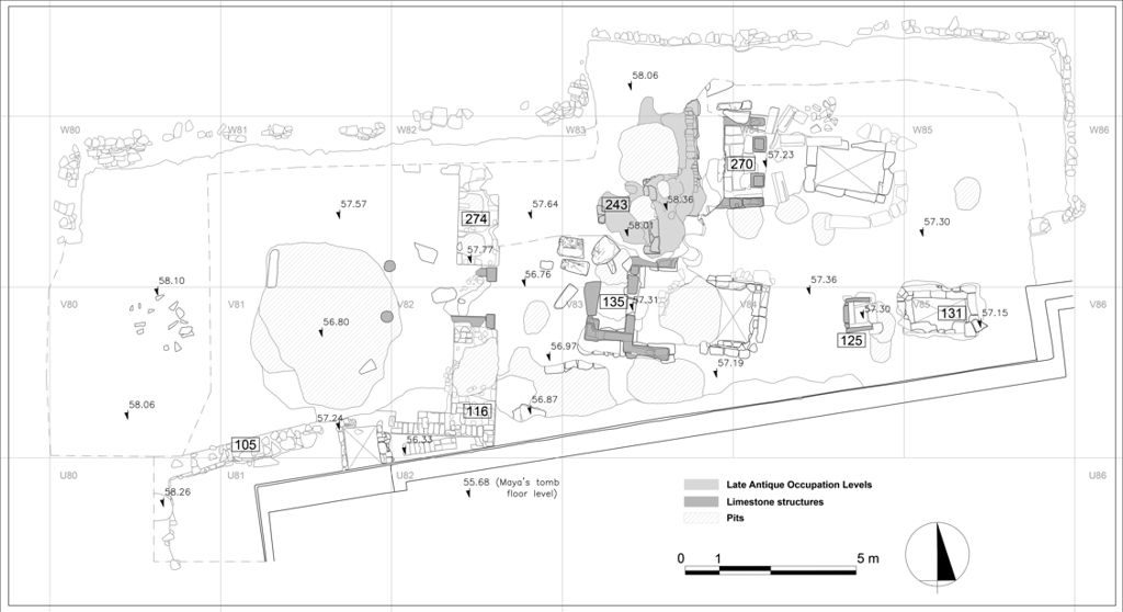 General plan of the excavation area, based on orthographic photos by the 3D Survey Group. In square W83 are the remains of the Late Antique occupation layers, in squares V/W-83/84 the three Ramesside funerary chapels with their respective shafts, and in squares V/W 82 the remains of the mud-brick pylon entrance of an earlier tomb. All the main robbery pits are also indicated by means of shading. By Paolo Del Vesco/Leiden-Turin Expedition to Saqqara.